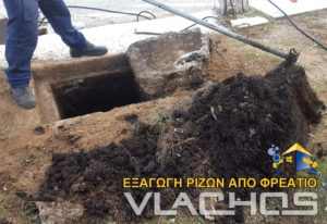 Τεχνικός της Αποφράξεις Βλάχος στην Πετρούπολη βγάζει ρίζες από το φρεάτιο